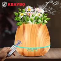 KBAYBO 550ml Aroma Essential Oil Diffuser Ultrasonic Air Humidifier With Wood Grain Electric LED Lights Aroma