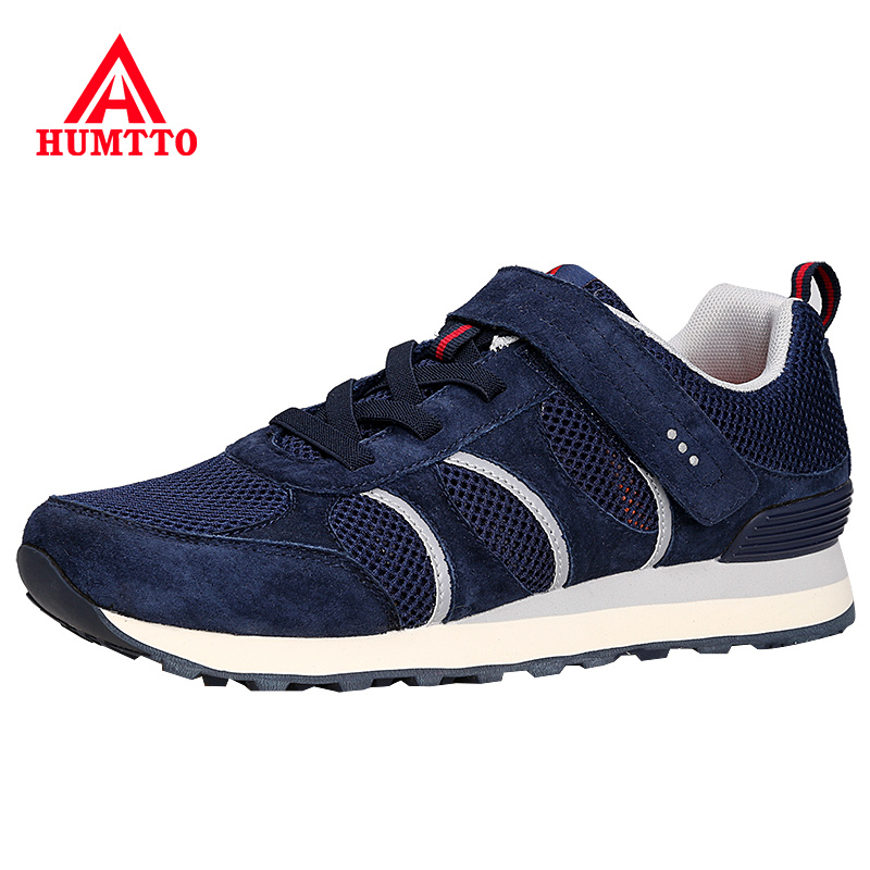 HUMTTO Hot Sale Summer Running Shoes Cushioning Man Sneakers Genuine Leather Hook&loop Men and Women Brand Light Jogging Shoe 2016 sale hard court medium b m running shoes new men sneakers man genuine outdoor sports flat run walking jogging trendy