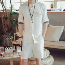 Loldeal Summer Shirt Set Mens Embroidery Collar Tang Short Sleeved Dress +Shorts Man