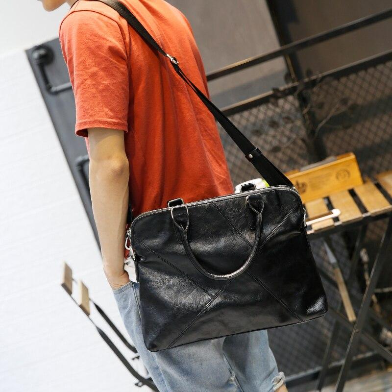 Fashionable Men's Noteboo k Business Bag Good Leather Computer Bag For Macbook Air 13Inch Notebbook laptop bag shoulder strap