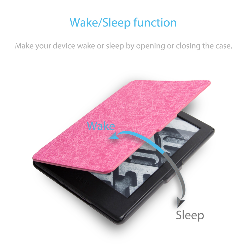 Magnet PU Leather Smart Slim E-Book Case For Amazon All-New Kindle 2016 Release 8th Generation 6 Auto Sleep Cover+Film+Stylus