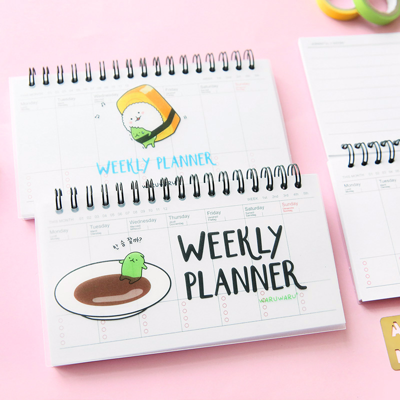 Mini sashimi week plan memo book 80 sheet weekly daily planner Sushi notebook agenda organizer Stationery School supplies F501 girly notebook stationery suit clips pens daily plan agenda sticky notes great value planner organizer set cute journals series