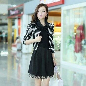 Women's 2013 autumn basic slim faux two piece set lace long-sleeve dress 02257113508