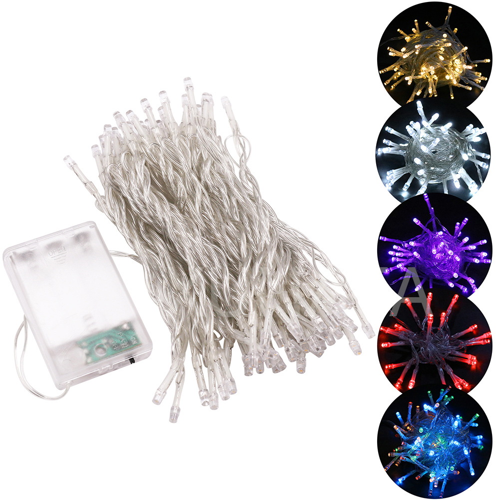 20 50 100 200 LED AA Battery Power Fairy Lights String Garden Outdoor Party Wedding Xmas Warm White RGB Lamp 2m/3m/5m/10m/20m