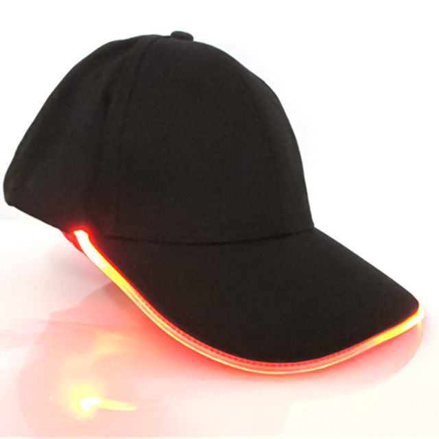 LED Baseball Cap Lighted Glow Fashion Club Party Black Fabric Travel Hat