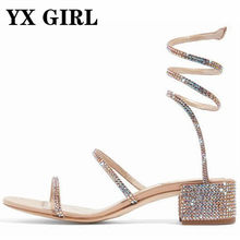 Summer Luxurious gladiator sandals women Flat Sandals Snake Punk Rhinestone  Thick Heel Women Sandals Wedding shoes size 34-43 4be2bfc6e2bf