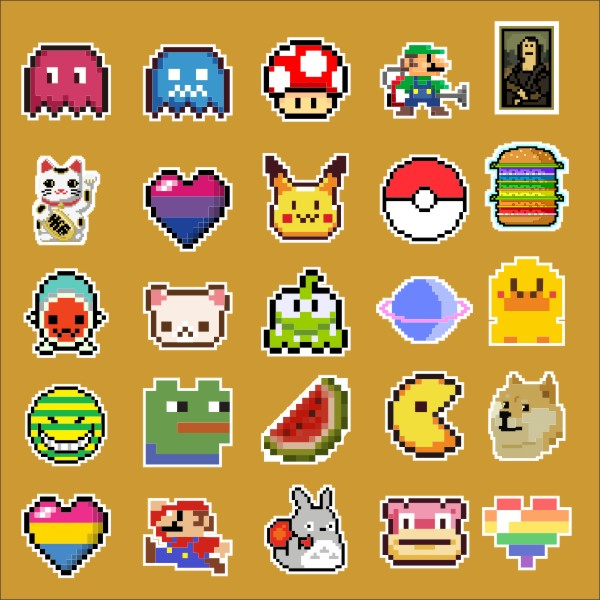 25pcs/lot Pixel style game characte Notebook refrigerator skateboard trolley case decals backpack Tables waterproof car sticker