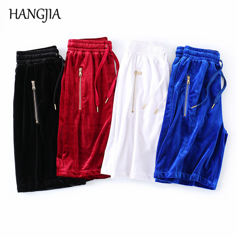 4pcs Oversized Velvet Shorts Men Women Hip Hop Side Zip Velour Joggers Shorts Black/white/red/blue Kanye West Streetwear Casual