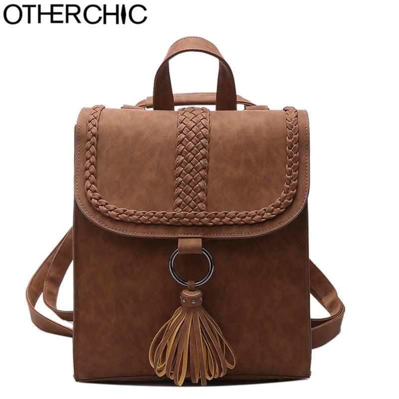 OTHERCHIC Fashion Women Tassel Backpack Fringe Quality Knapsack Girls School Bags Designer Vintage Travel Backpack L