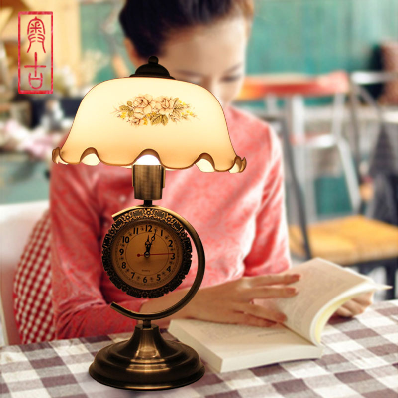 led bulb European creative with alarm clock bedside lamp childrens baby room bedroom garden decorative lamp of learning A-5