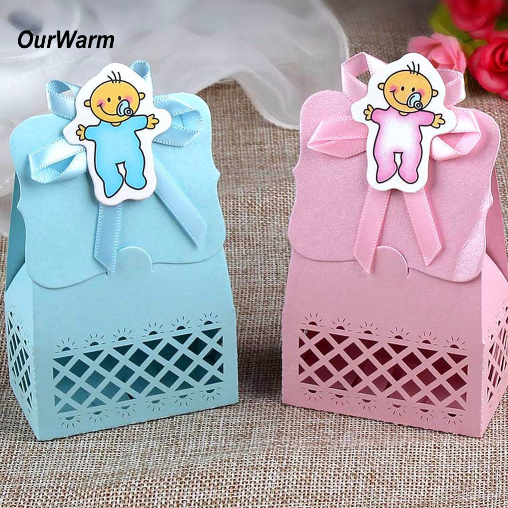 FENGRISE 10pcs Baby Footprint Laser Cut Out Candy Box Baby Shower ...