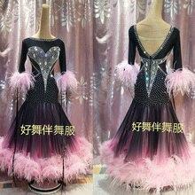 Balo salonu dans elbise balo salonu dans yarışması elbiseler degrade Modern Waltz Tango dans elbise devekuşu tüyü elbise pembe