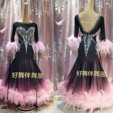 Robe de bal, pour salon de danse, tenue de compétition de danse moderne, pour la valse, Tango, robe en plumes dautruche