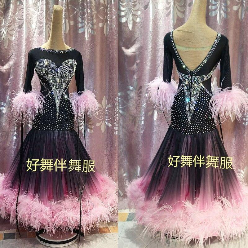 Ballroom Dance Dress  Ballroom Dance Competition Dresses Gradient Modern Waltz Tango Dance Dress Ostrich Feather Dress Pink