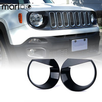 Marloo Pair Black Angry Birds Headlight Bezels Cover Trim For 2015 2016 2017 Jeep Renegade