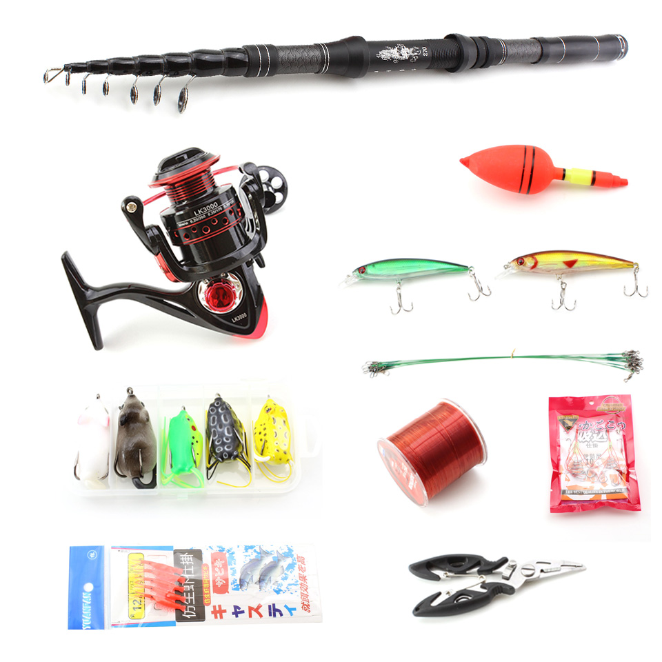 1 8M 3 0M carbon Telescopic Fishing Rod Combo Spinning Reel sea Pole Set Spinning Rods Fishing line hook Fishing Tackle gift in Fishing Rods from Sports Entertainment