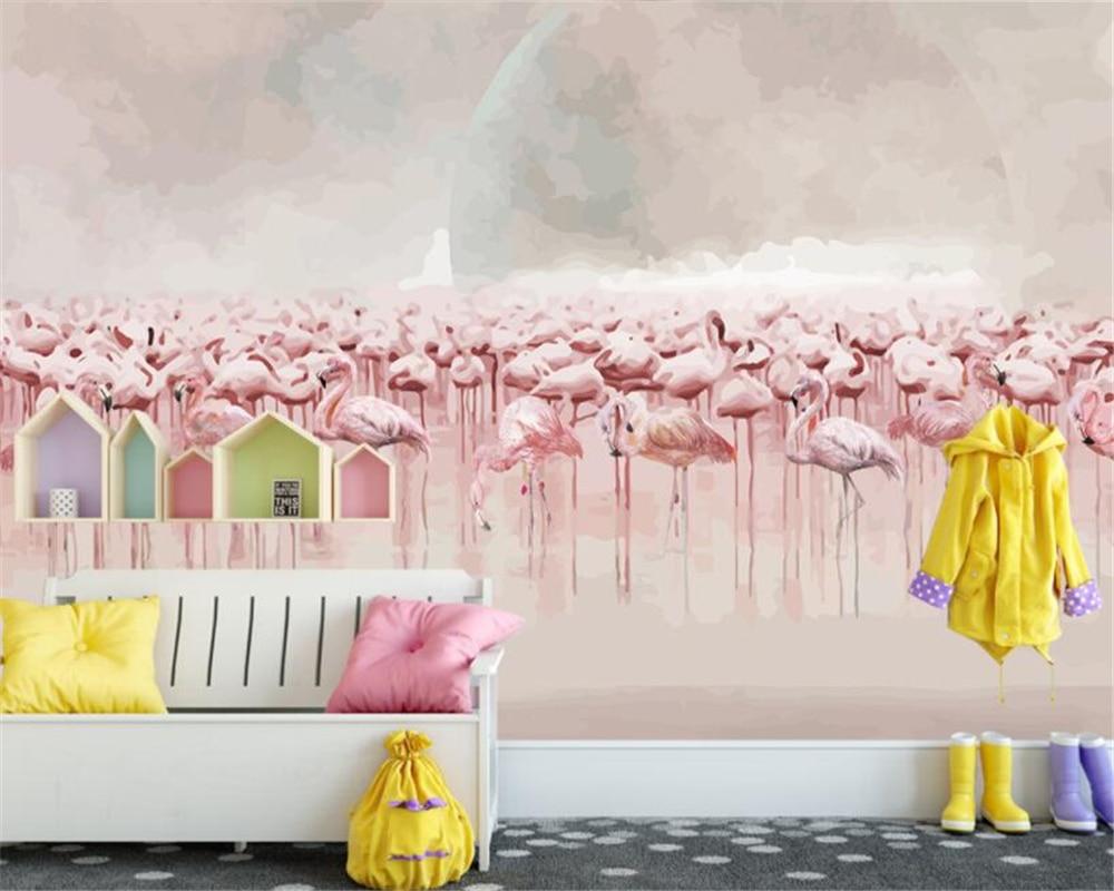 Купить с кэшбэком Beibehang customize 3d wallpaper murals nordic Hand Painted flamingos mural background wall mural wallpaper for walls 3 d tapety