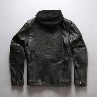HARLEY ANGEL 2018 новые мужские черные профессиональный мотоцикл кожаная куртка Мода Толстые коровьей с капюшоном зима Россия пальто