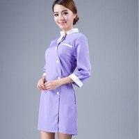Spring new arrival beauty salon Spa uniform tunic purple nurse costume hospital pharmacy nurse scrub uniform