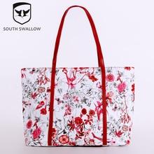 2016 heißer Mode South Swallow Frauen Pu-leder Blumendruck Schulter Handtaschen Casual Schöne Dame handtasche PUA14008