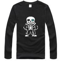 2016 Hot Sale Funny Skeleton Cartoon Black T Shirt Men 2016 Summer And Mens Long Sleeve