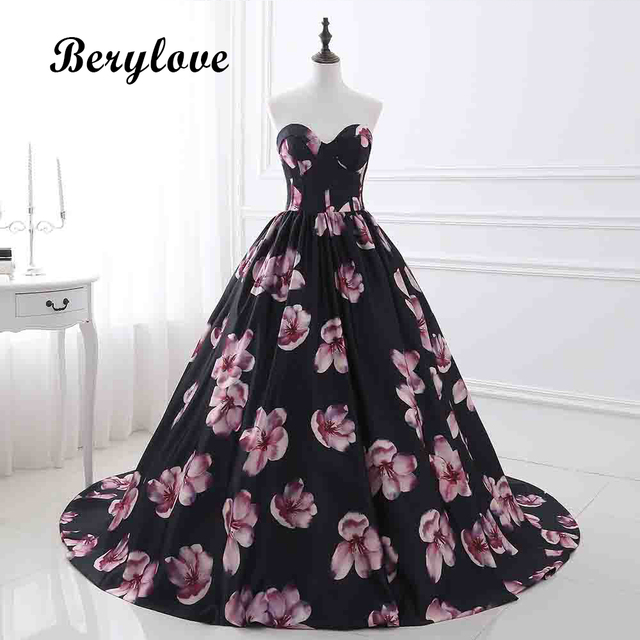 BeryLove Real Photos Floral Print Ball Gown Quinceanera Dresses 2018 ...