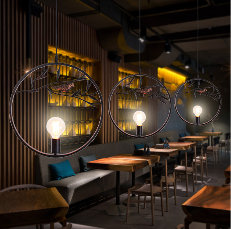 Retro industrial style chandeliers loft creative personality living room dining room bar bird iron chandeliers single head lamps loft style vintage pendant lamp iron industrial retro pendant lamps restaurant bar counter hanging chandeliers cafe room