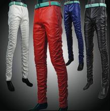 2017 men's spring and autumn clothing motorcycle leather pants mens teenage male slim red wrinkle PU leather trousers mens black