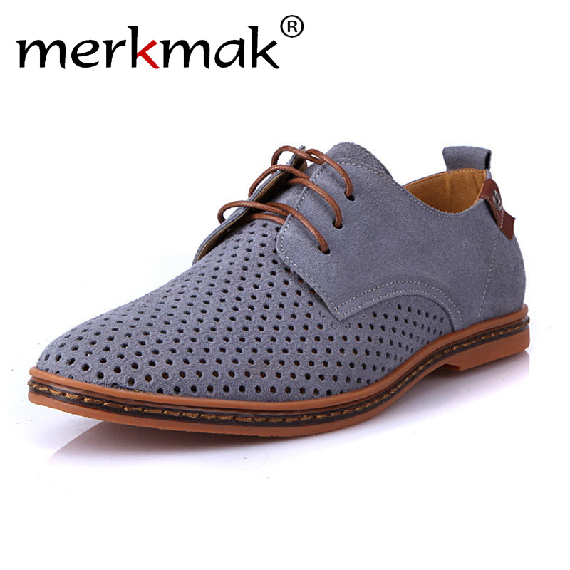 Merkmak Brand Spring Summer   Suede     Leather   Men Casual Shoes Fashion Mens Flats Soft Breathable Lace Up Sneakers Plus Size 39-48