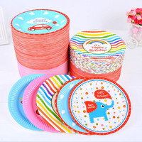 2017 Colorful Cartoon Paper 7 Inch Plate Disposable Tableware Wedding Birthday Party Table Decorations