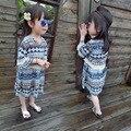 2016 niños del verano nueva mujer niñas vestido de flores con flecos de Bohemia del estilo étnico falsificación