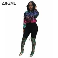 ZJFZML Women Sparkle Sequin Top Sexy O Neck Gradient Tees Jacket Spring Long Sleeve Party Nightclub Skinny Female T Shirt