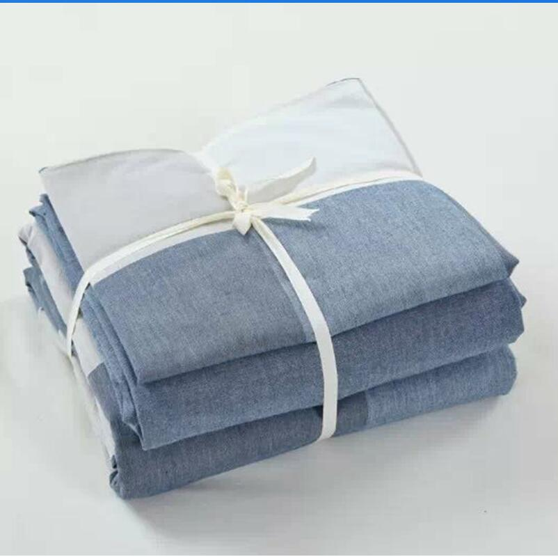 fashion plaid washed cotton grey white blue bedding set 3pcs 4pcs king queen twin size duvet cover set bed flat sheet pillowcase