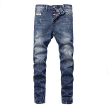 Newly Designer Men Jeans Three Stripes Pockets Straight Fit Cotton Buttons Pants Ripped Jeans Balplein Brand Classical Jeans Men недорго, оригинальная цена