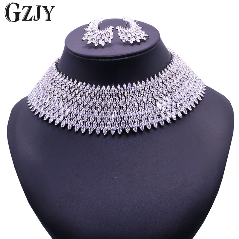 GZJY Gorgeous Zircon Bridal Jewelry Sets Shining Zircon White Gold Color Necklace Earrings For Women Wedding Party Accessories gzjy gorgeous red zircon bridal jewelry sets gold color flower necklace earrings ring bracelet sets wedding jewelry for women