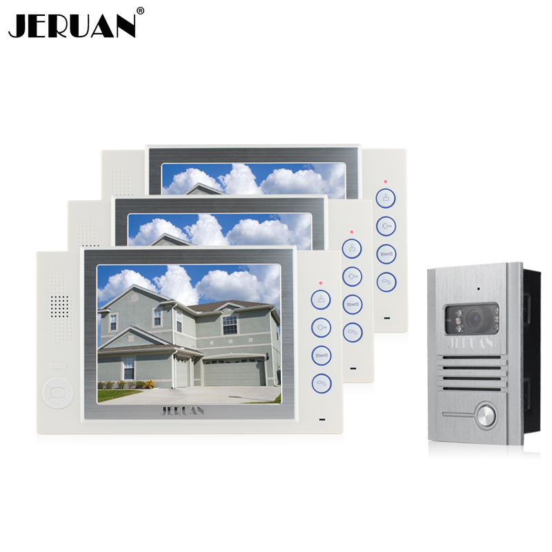JERUAN 8 inch video door phone doorbell intercom system video doorphonre recording photo taking 800TVL COMS Camera jeruan 8 inch video door phone high definition mini camera metal panel with video recording and photo storage function