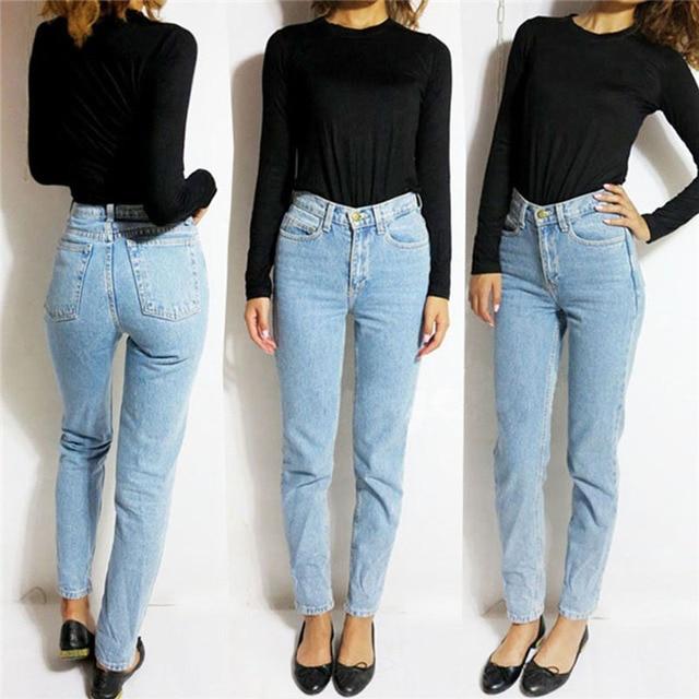 Vintage de Cintura Alta Pantalones Vaqueros de Las Mujeres Pantalones de Mezclilla 2016 Nueva Delgado Pantalones lápiz Pantalones Capris Adapta Dama Pantalones Vaqueros Jeans Mujer Plus tamaño