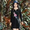 2017 spring summer loose embroidery dress women long sleeve cotton Fat large size party dresses female clothes