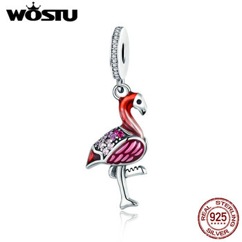 WOSTU Горячая продажа 100% стерлингового серебра 925 Эмаль Фламинго модные очаровательные Бусины Подходят оригинальный бренд браслет ожерелья ю... >> WOSTU Official Store