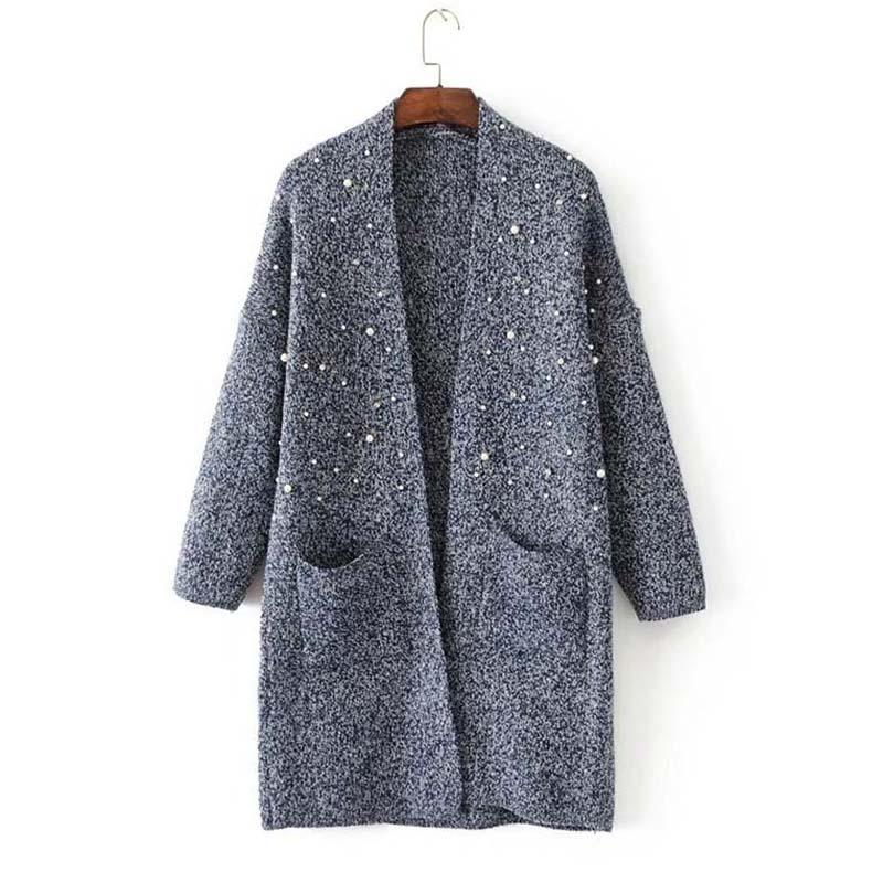Sweater font b Womens b font font b jackets b font Autumn winter V Neck Beading