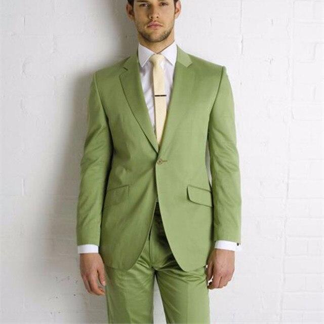 88357516a3870 Nuevo mens Trajes muesca traje novio hombres Esmoquin traje verde oliva  boda mejor hombre traje (