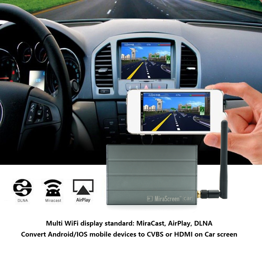 TOP MiraScreen C1 Voiture WiFi Affichage Dongle WiFi Miroir Boîte Airplay Miracast DLNA GPS Navigation Voiture pour iOS Android Téléphone Pad TV