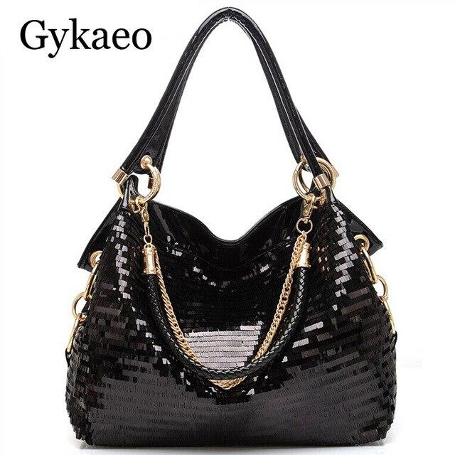 Fashion Leather Women Sequined Handbags High-grade Sequins Ladies Shiny  Handbags Chain Shoulder Bag Famous Brand Designer Totes 087e8325bd