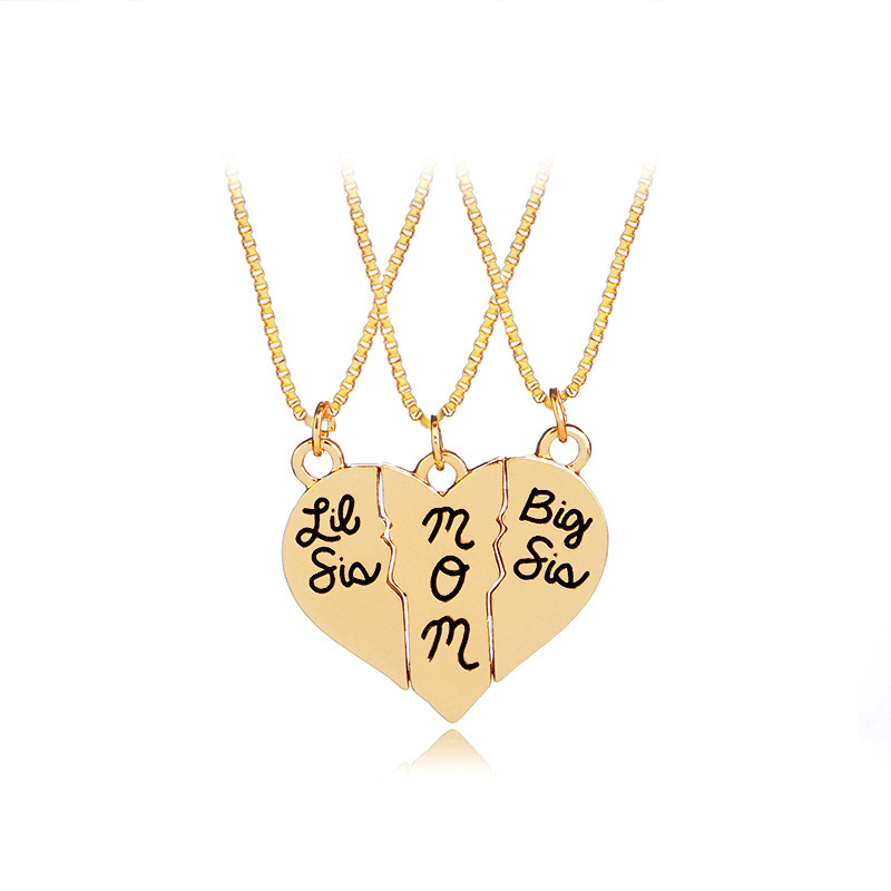 3 Parts/Set Vintage Big Lit Sister Necklace With Letters Little Sis Mom Big Sis Necklaces & Pendants For Mothers Day Gifts