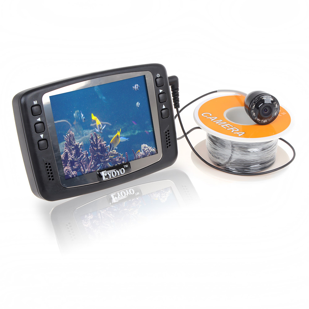 Free Shipping! Eyoyo Original 1000TVL Underwater Ice Video Fishing Camera Fish Finder 15m Cable 3.5'' Color LCD Monitor free shipping eyoyo 30m 7 inch 1000tvl monitor underwater video camera fish finder dvr 4gb stainless