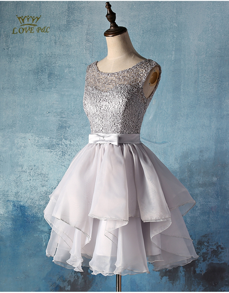 2015 New Elegant Red/Gray /purple/pink lace short prom dresses women ...