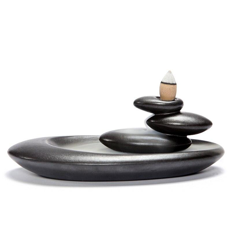 Terugstromen Wierookbrander Home Decor Creatieve Keramische Boeddhistische Wierookvat Aromatherapie Wierook Houder + 20 Stks Wierook Kegels