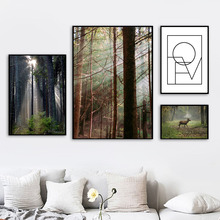 Sunshine Forest Deer Geometric Painting Wall Art Canvas Nordic Posters And Prints Pictures For Living Room Decor