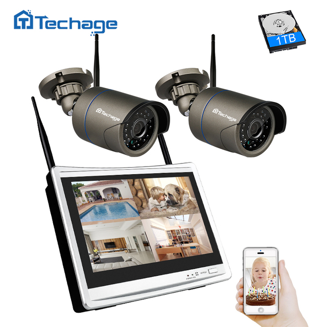 Techage 1080 p אלחוטי טלוויזיה במעגל סגור מערכת 4CH 12 אינץ LCD NVR 2MP מקורה חיצוני Wifi מצלמה P2P וידאו אבטחת מעקב ערכת 1 tb HDD