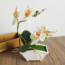 small Plant bonsai artificial butterfly orchid flower set with real touch leaves artificial plants overall floral for wedding